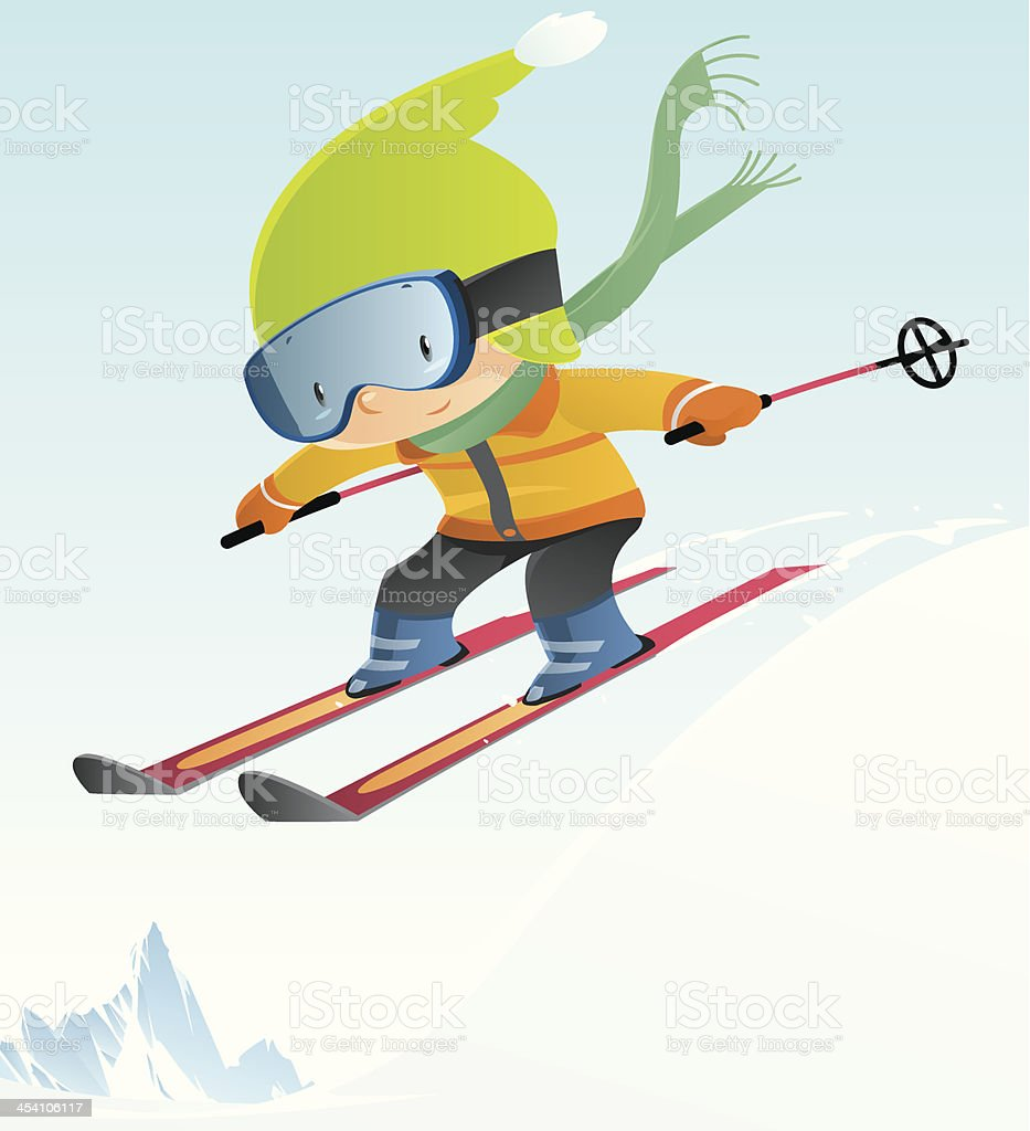 Cartoon of boy skiing in mid-air jump vector art illustration