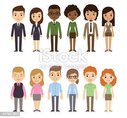 Cartoon Of Business Men And Women Standing Up Stock Vector ...