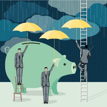 cartoon of business men protecting an enlarged piggy bank