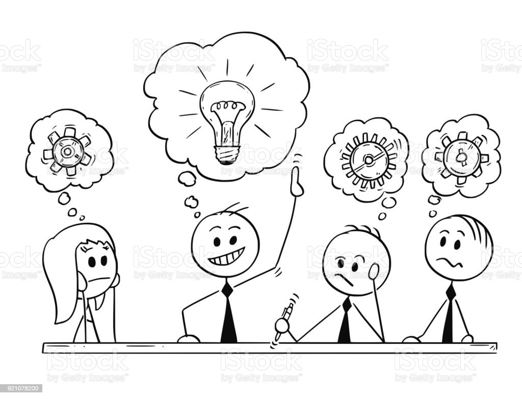 cartoon of business team meeting and brainstorming stock vector art