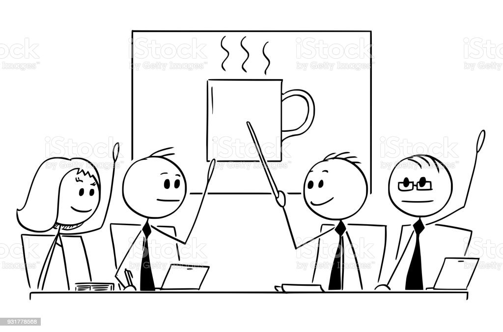 cartoon of business team or people meeting voting for coffee break