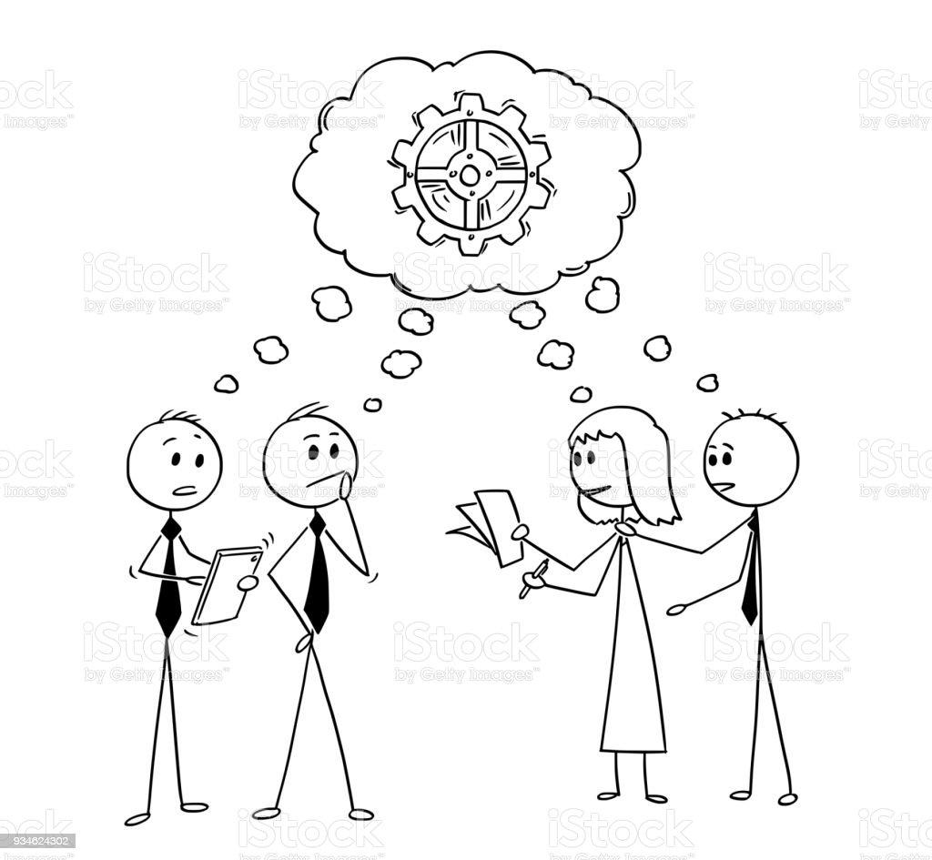 Ilustración De Dibujos Animados De Personas Pensando En Problema O