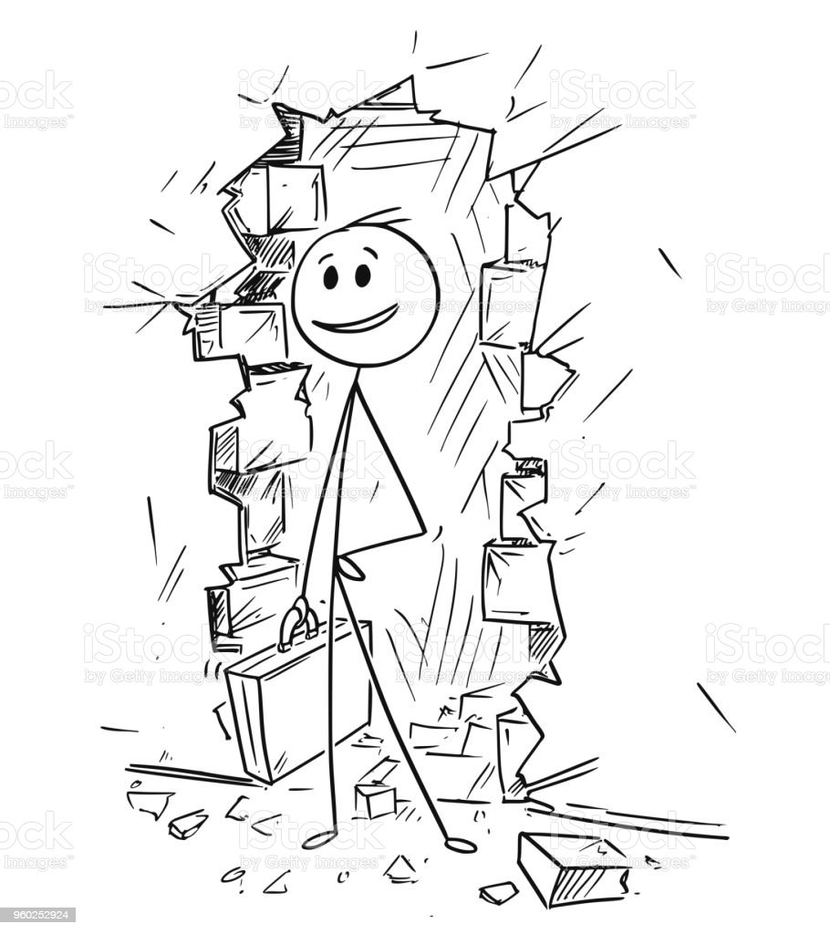 Cartoon Of Businessman Coming Through Hole In Wall On The Light Stock Illustration Download Image Now Istock
