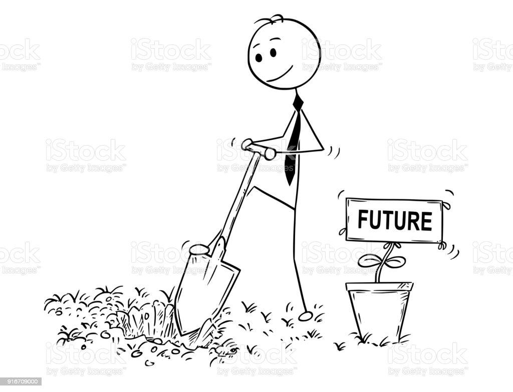 Karikatur Von Geschäftsmann Graben Ein Loch Für Die Pflanze Mit ...