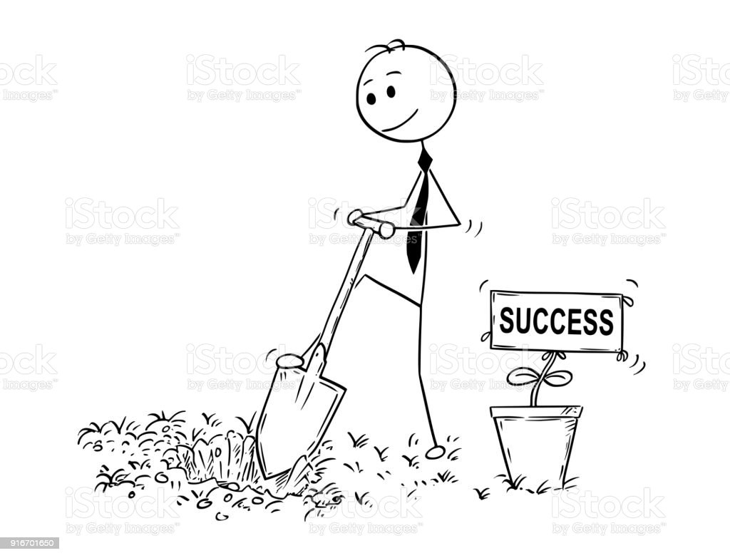 cartoon of businessman digging a hole for plant with success sign stock illustration download image now istock cartoon of businessman digging a hole for plant with success sign stock illustration download image now istock