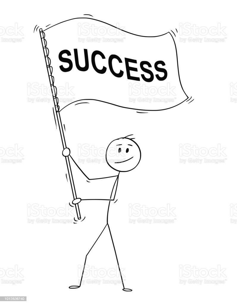 cartoon of businessman holding big flag with success text stock illustration download image now istock cartoon of businessman holding big flag with success text stock illustration download image now istock