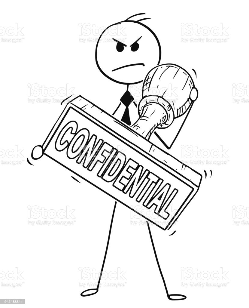Cartoon Of Businessman Holding Big Hand Rubber Confidential Stamp Royalty Free