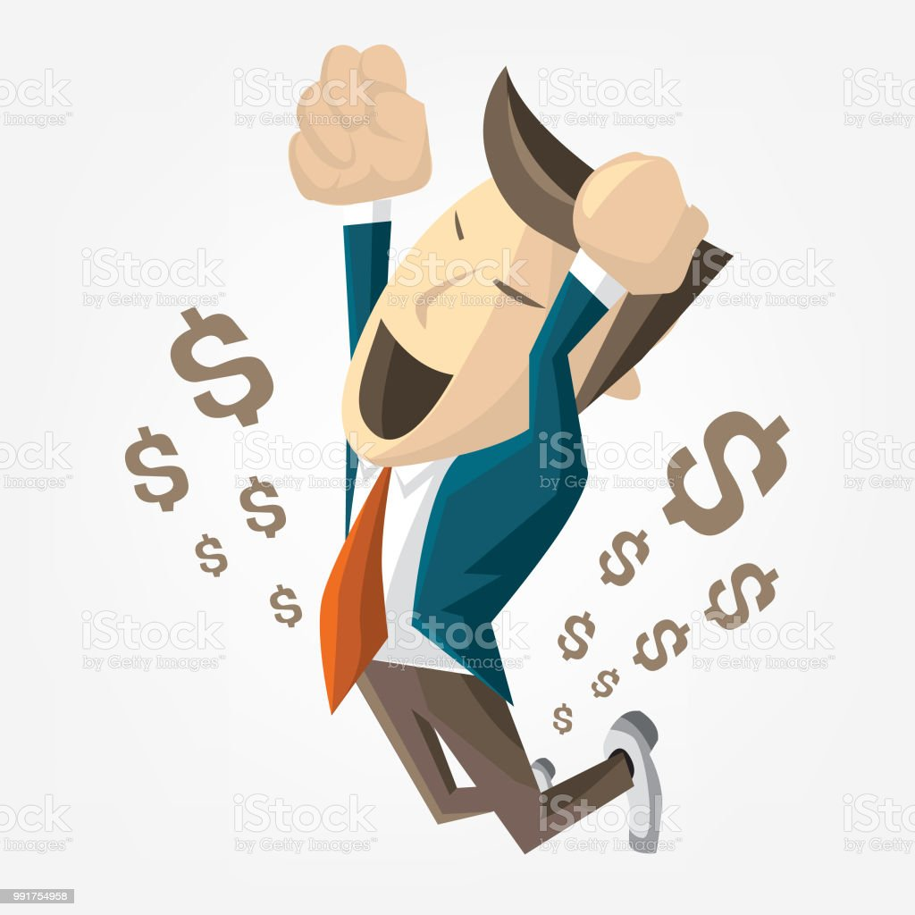 Cartoon of businessman jump over success. Happy getting a lot money. Vector flat illustration vector art illustration