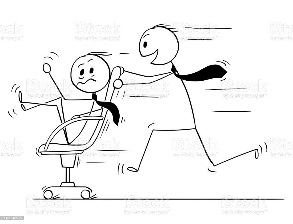 Karikatur Von Geschaftsmann Reiten Auf Stuhl Geniessen Spass Im Buro