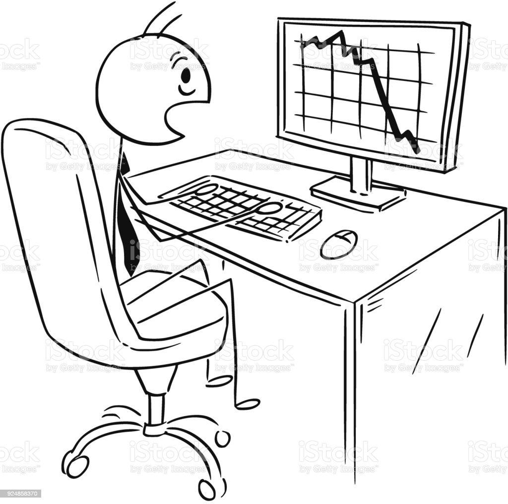 Karikatur Von Geschäftsmann Schockiert über Markt Gewinn Oder Kosten ...