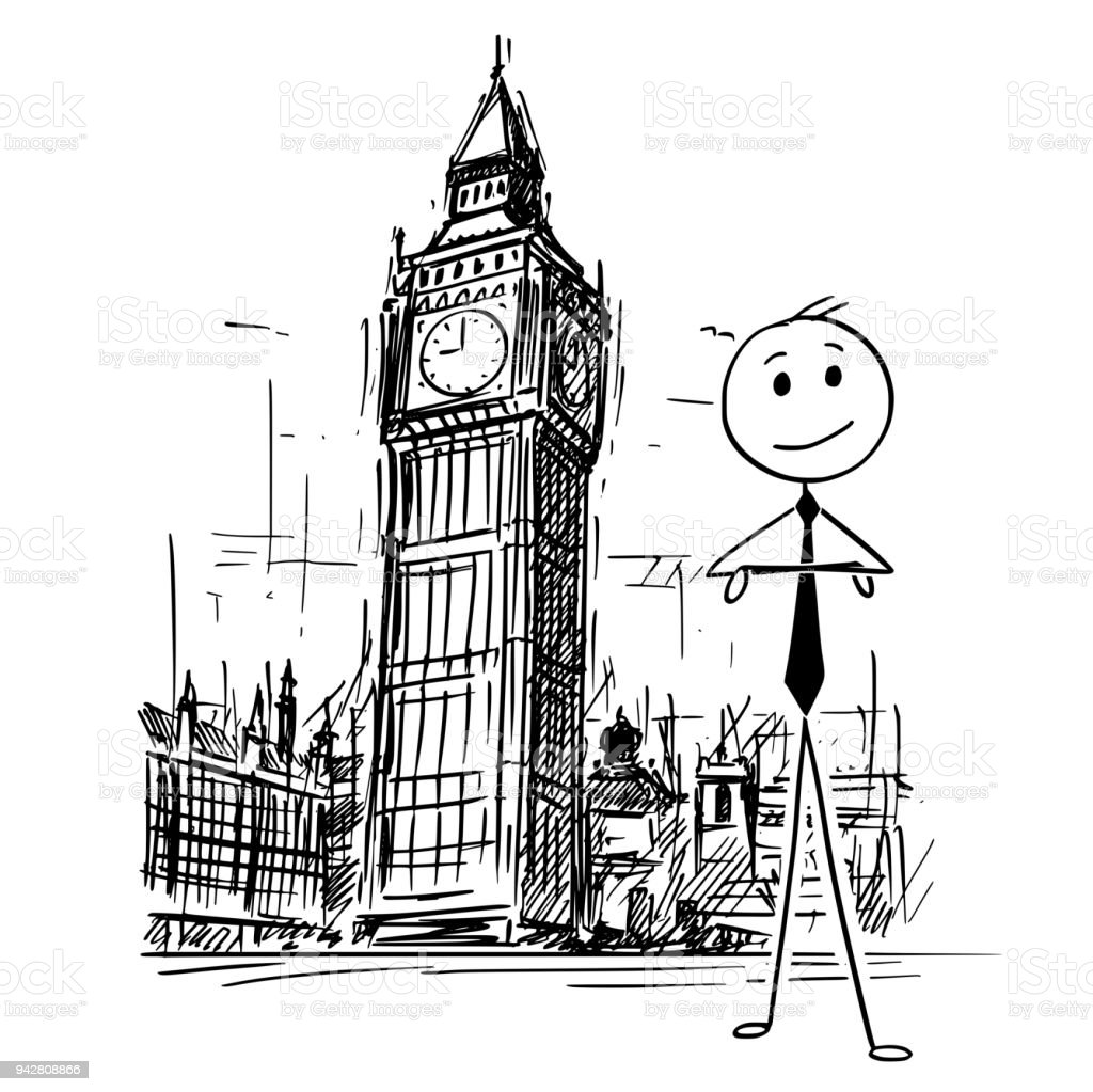 Cartoon Of Businessman Standing In Front Of Big Ben Clock Tower In London England Stock Illustration Download Image Now Istock