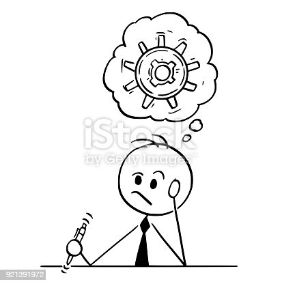 Cartoon Of Businessman Thinking Hard To Find Solution