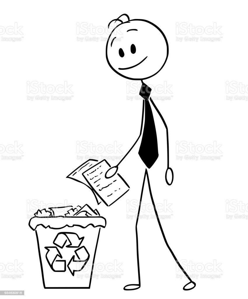Ilustracao De Desenhos Animados Do Empresario Jogando Papel Na