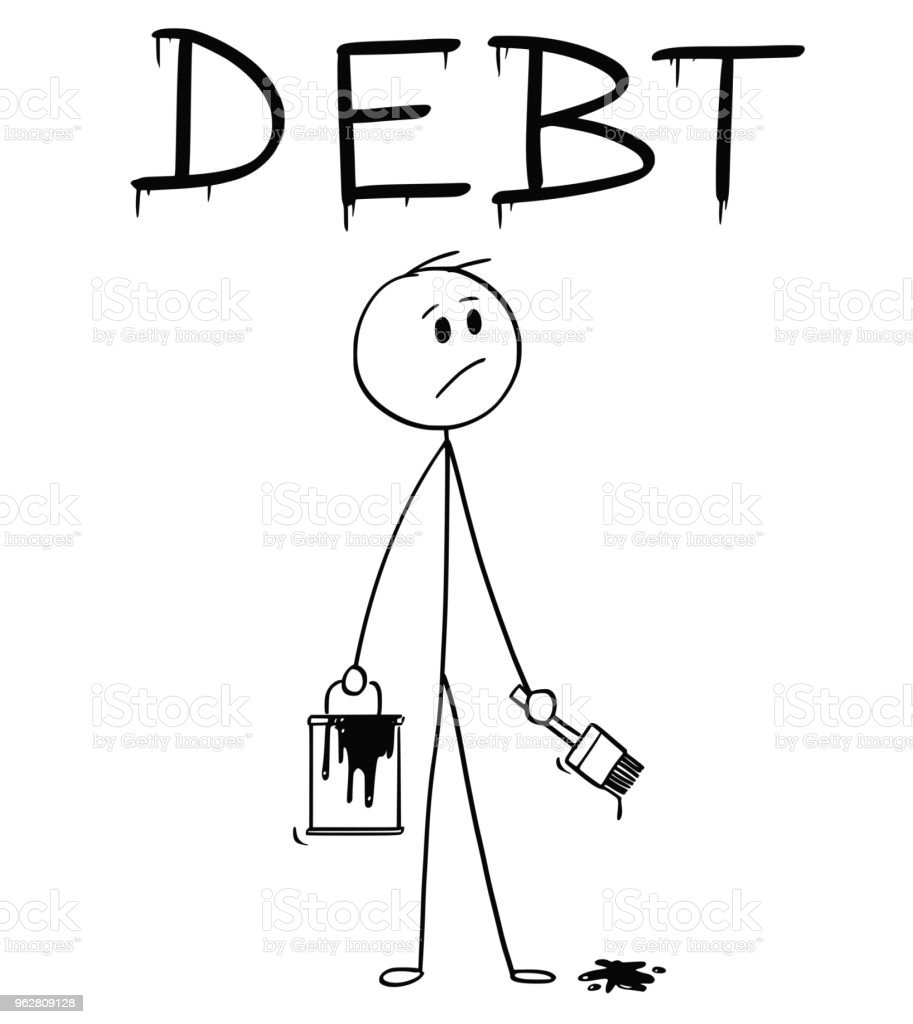 Cartoon of Businessman With Brush and Paint Can Painting the Word Debt - arte vettoriale royalty-free di Adulto