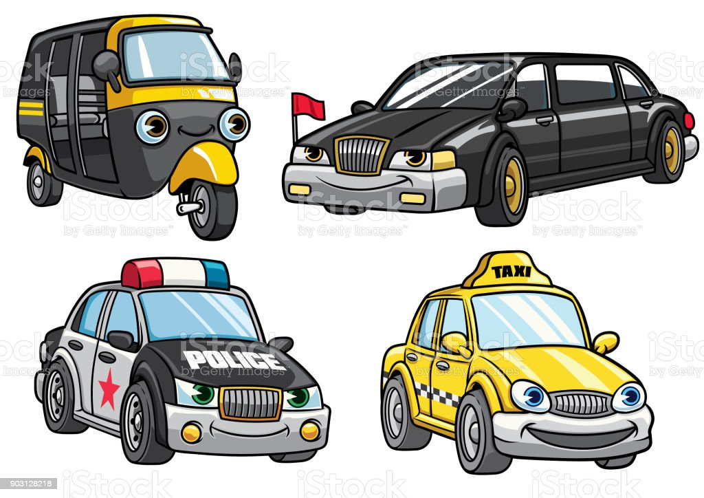 cartoon of cars set vector art illustration