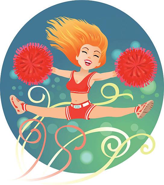comic der cheerleader - spagat stock-grafiken, -clipart, -cartoons und -symbole
