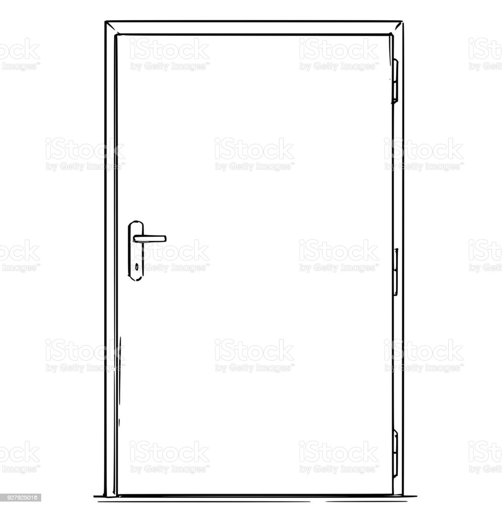 closed door drawing. Cartoon Of Closed Modern Door Royalty-free Stock Vector Art Drawing