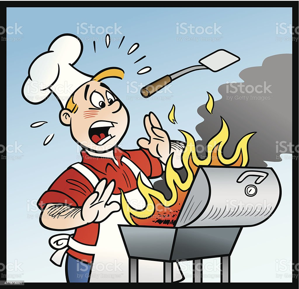 cartoon of cook with bbq on fire stock vector art more images of