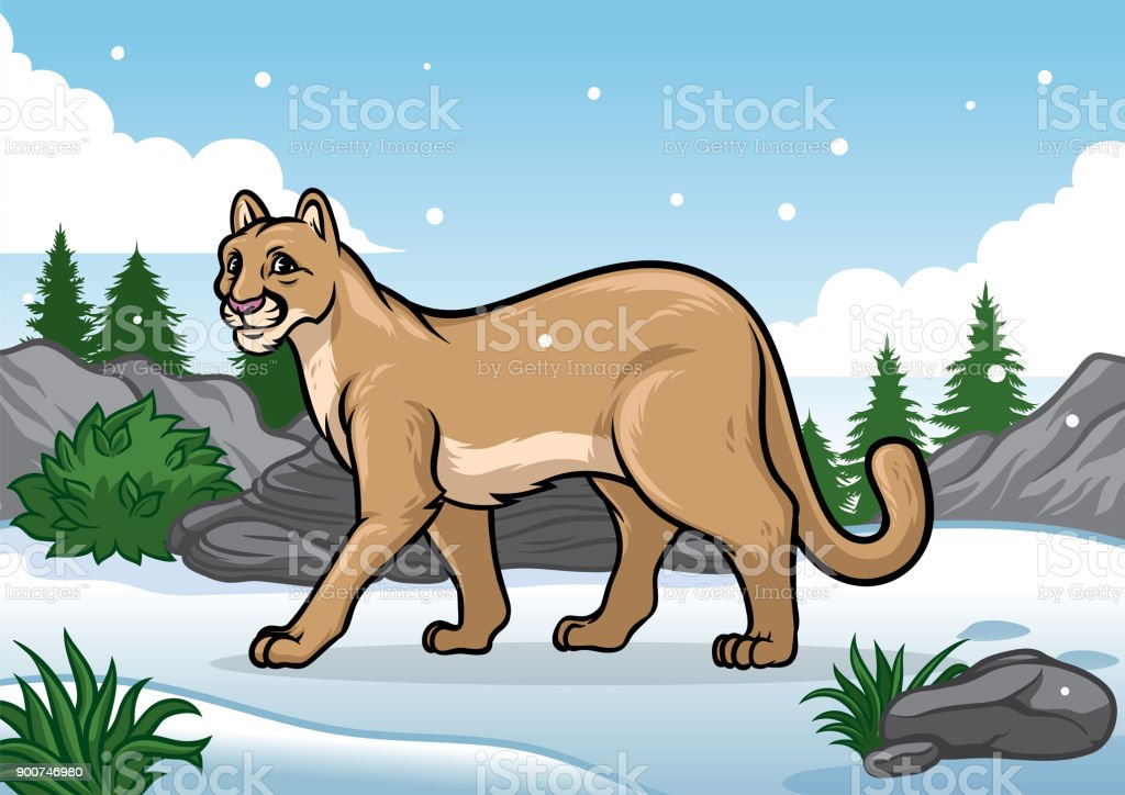 Dessin Anime De Lillustration De Cougar Dans La Montagne Enneigee