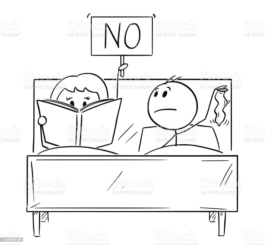 Cartoon Of Couple In Bed Man Wants Sexual Intercourse Woman Is Reading A Book