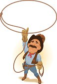 Vector illustration of cowboy twirling a lasso, just right for drawing attention around your headline, logo, etc. Lasso and other items are grouped for easy editing.