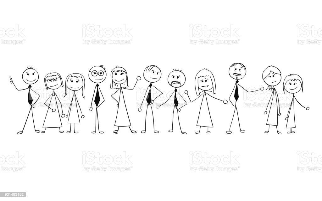 Dessin animé de la foule des gens d'affaires isolés. - Illustration vectorielle