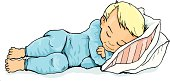 Cartoon of  cute blonde boy sleeping