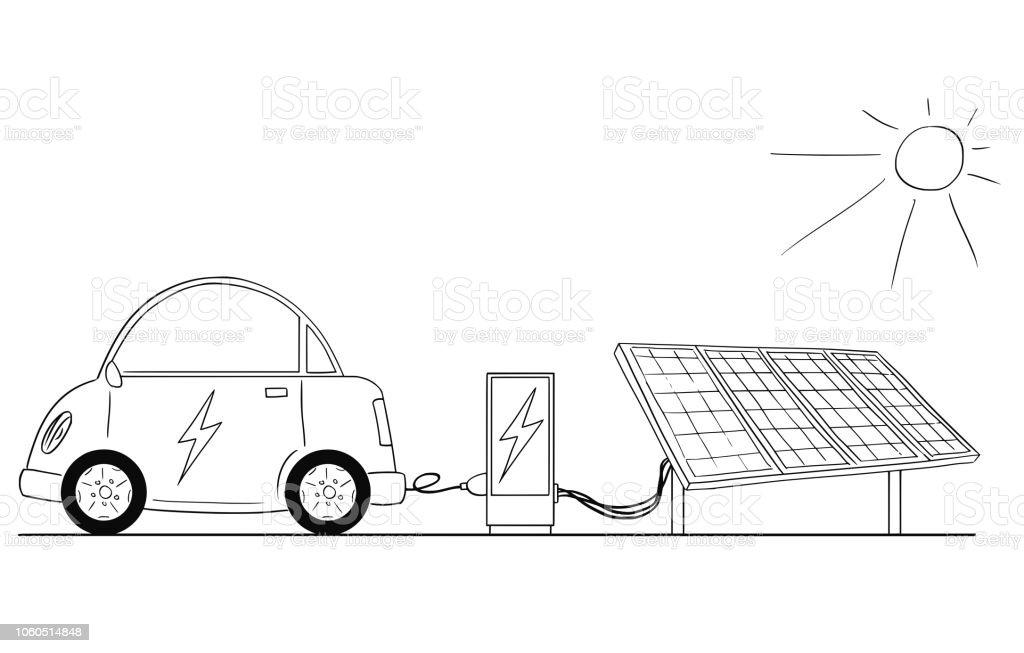 karikatur von elektroauto aufladen an der ladestation mit. Black Bedroom Furniture Sets. Home Design Ideas