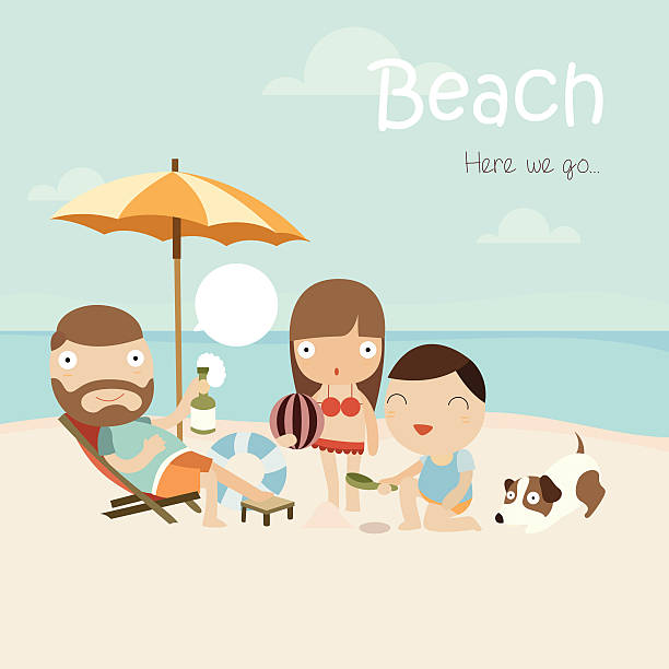 Cartoon Of Family At The Beach With Words Written Vector Art Illustration