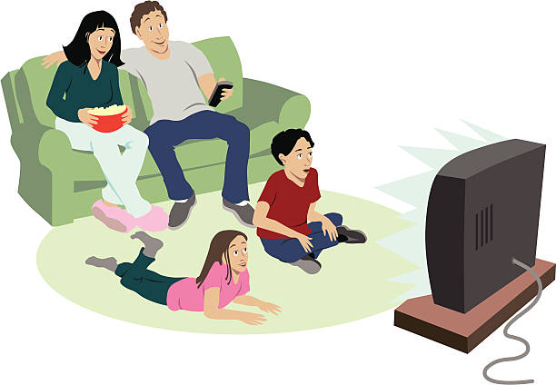 Cartoon of family of four watching television  Family sits in living room watching television. 2 parents, 2 kids, mom holds a bowl of popcorn. watching tv stock illustrations
