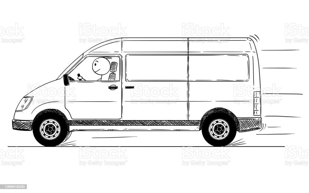 Dessin Animé De La Conduite Rapide Camionnette De Livraison Génériques Vecteurs Libres De Droits Et Plus D Images Vectorielles De Art