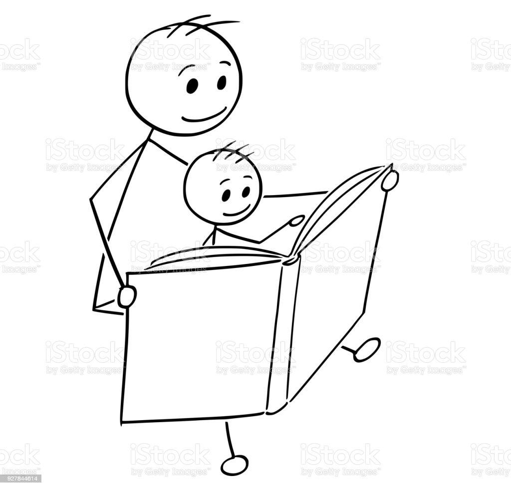 Cartoon Vater Und Sohn Gemeinsam Ein Buch Zu Lesen Stock Vektor Art ...