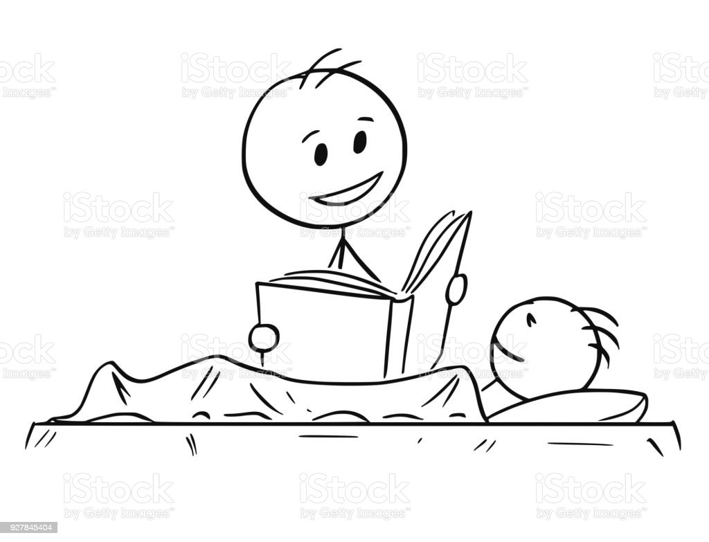 Cartoon Of Father Reading Bedtime Story Or Book To Son Stock Illustration Download Image Now Istock