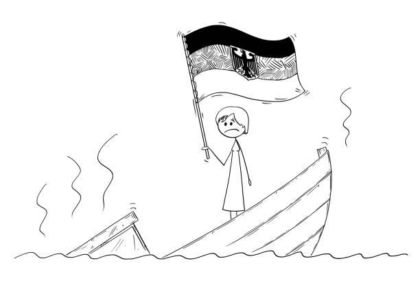 karikatur von weiblich oder frau politiker oder kanzler stehen deprimiert auf sinkende boot winken die flagge der bundesrepublik deutschland - kanzlerin stock-grafiken, -clipart, -cartoons und -symbole