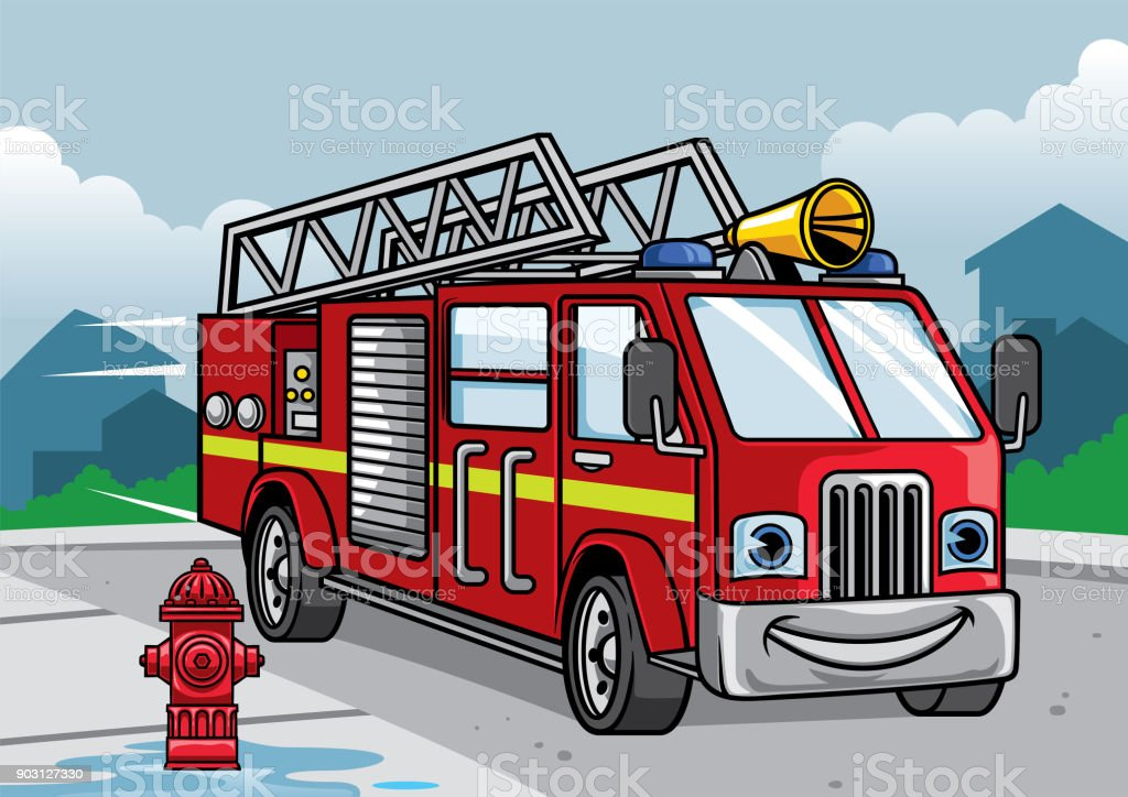 cartoon of firefighter truck illustration vector art illustration