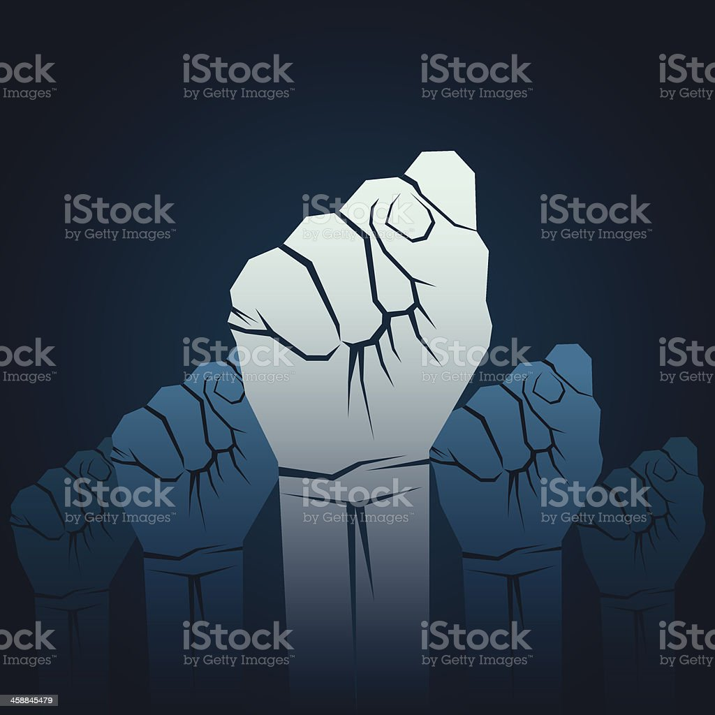 Cartoon of five fists raised in unison showing solidarity vector art illustration