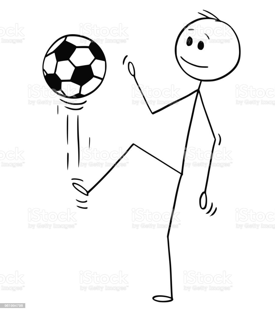 Cartoon Of Football Or Soccer Player Juggling Or Kicking The Ball Stock Illustration Download Image Now Istock