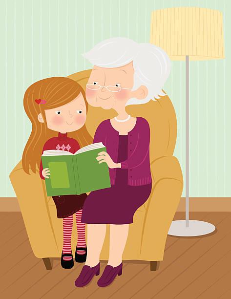 ilustraciones, imágenes clip art, dibujos animados e iconos de stock de historia de tiempo - nieta