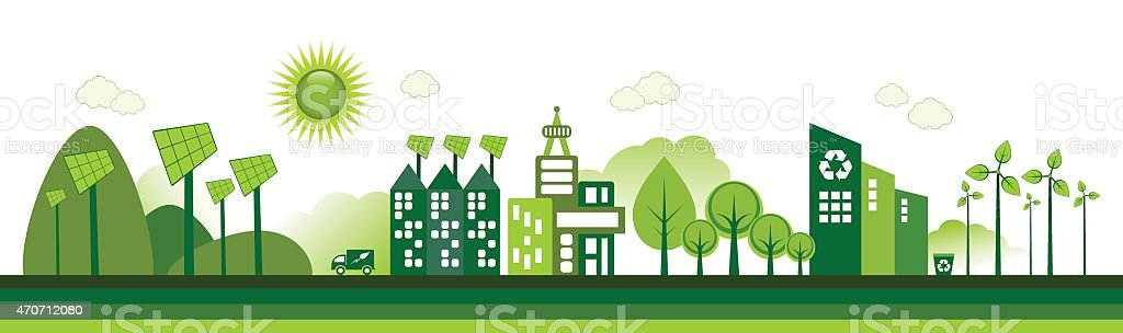 Cartoon of green city with renewable energy vector art illustration