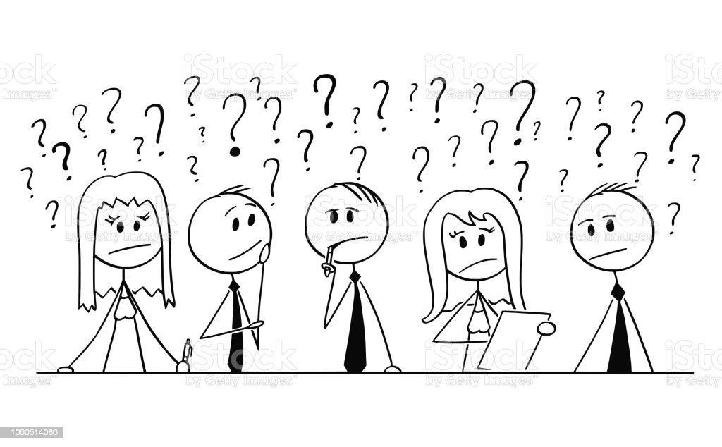 Ilustración De Dibujos De Grupo De Personas De Negocios Pensando Con