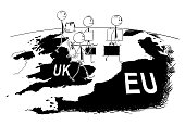 Cartoon of Group of Businessman Leaving UK to Europe During Brexit