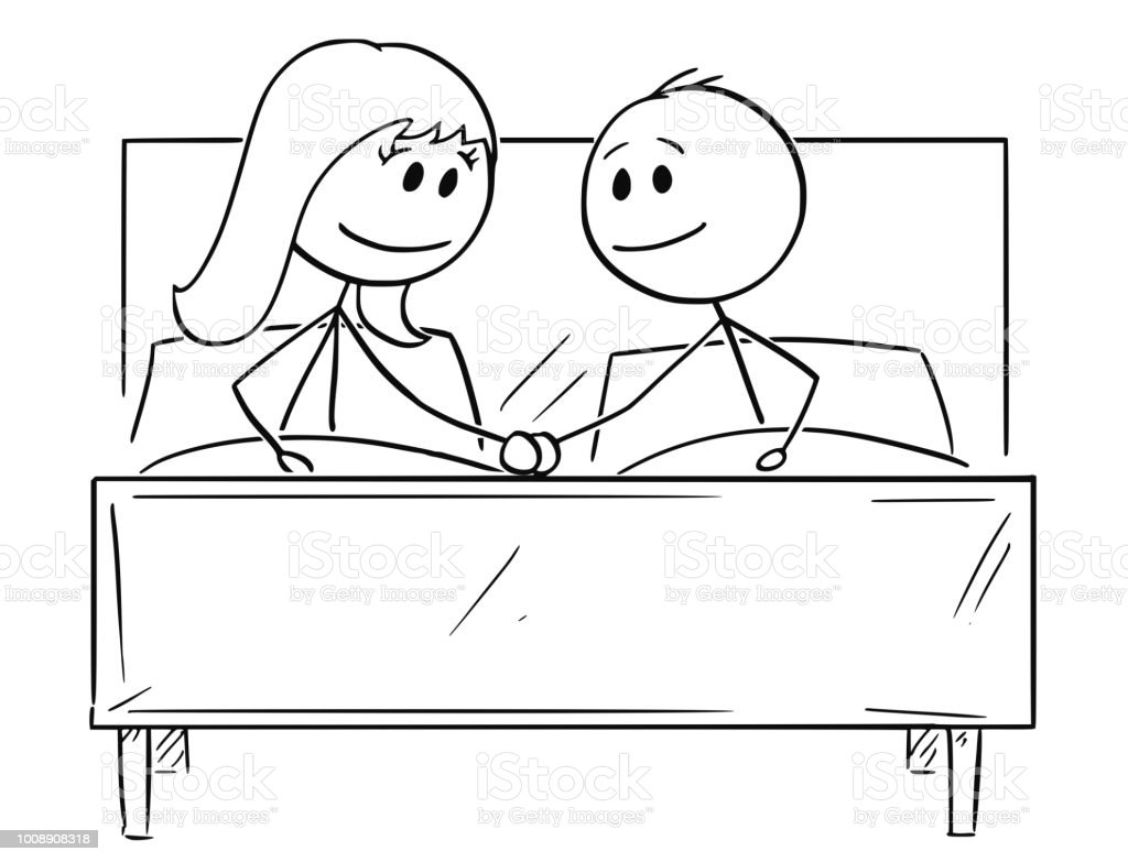 Cartoon Von Glucklichen Paar Im Bett Mit Jeweils Anderen Hand Stock