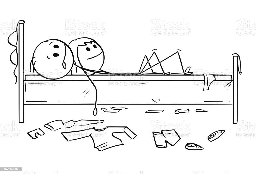 Karikatur Des Brautpaares Im Bett Mann Und Frau Nach Dem