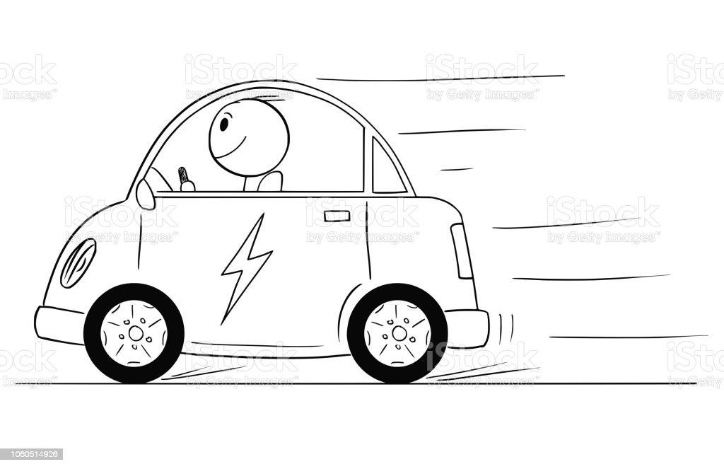 Vecteurs Dheureux Homme Caricature Monté La Sur Voiture Électrique O8nkNPX0wZ
