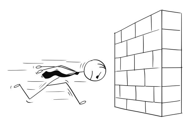 Cartoon of Headstrong Businessman Running Head First Against Wall Cartoon stick man drawing conceptual illustration of headstrong businessman running against brick wall head first. Business concept of confidence and motivation. bangs stock illustrations