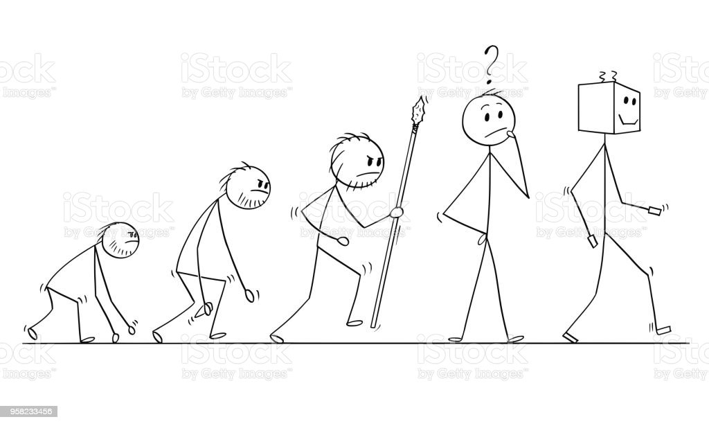Cartoon Of Human Evolution Process Progress Successor Of Modern ...