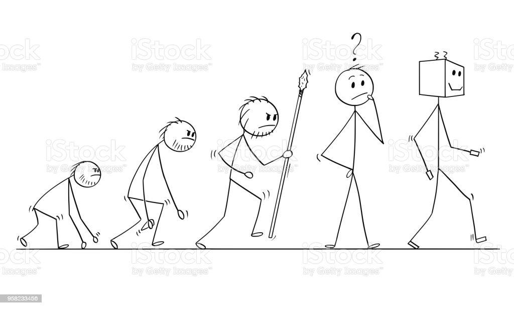 Karikatur Der Menschlichen Evolution Prozessfortschritt Nachfolger ...