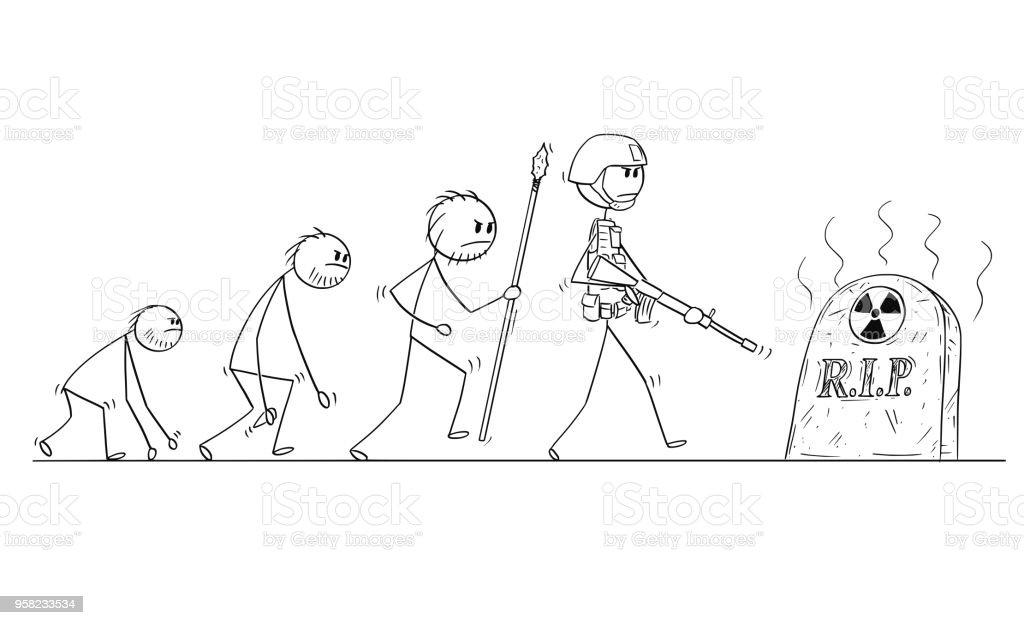 Karikatur Der Menschlichen Evolution Prozessfortschritt Ohne ...