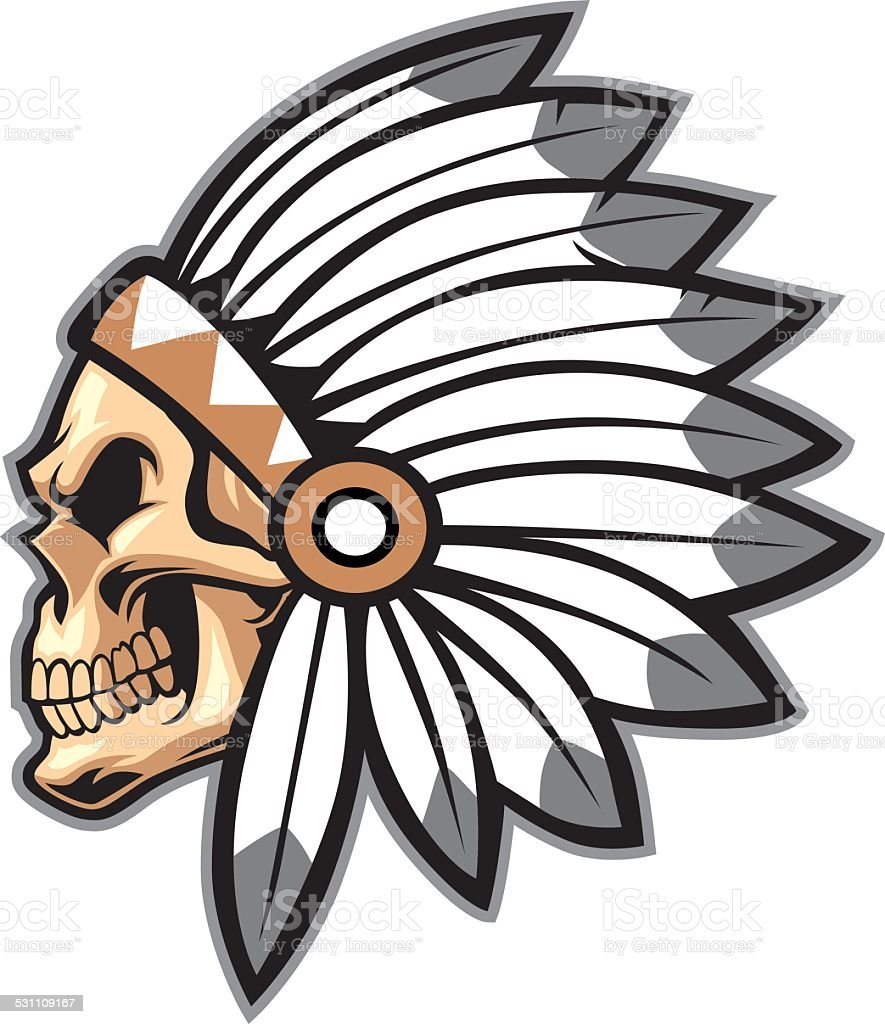 Cartoon Of Indian Chief Skull Stock Vector Art & More Images of 2015