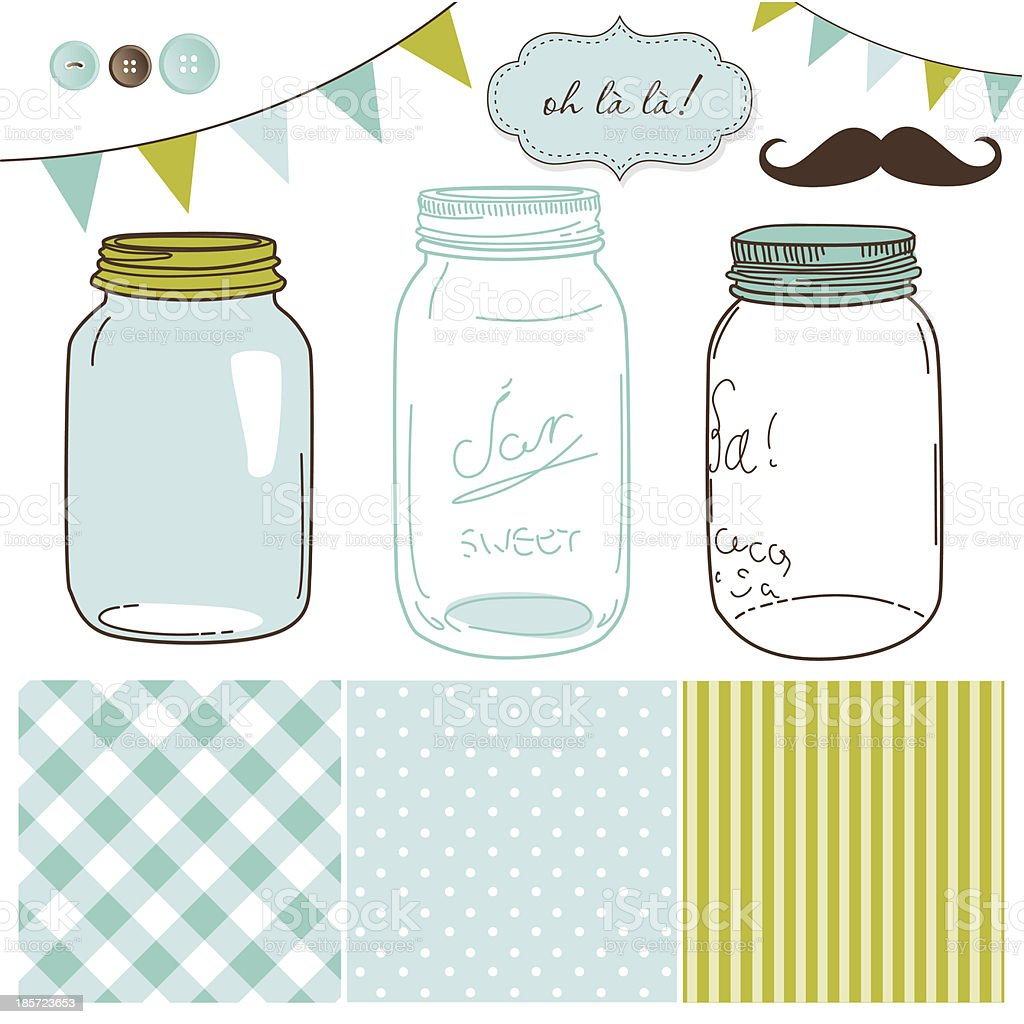Cartoon of jars, stripe patterns and a mustache vector art illustration
